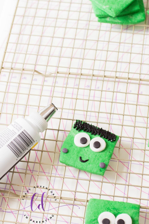 Add Fondant Dots to Frankenstein Cookies