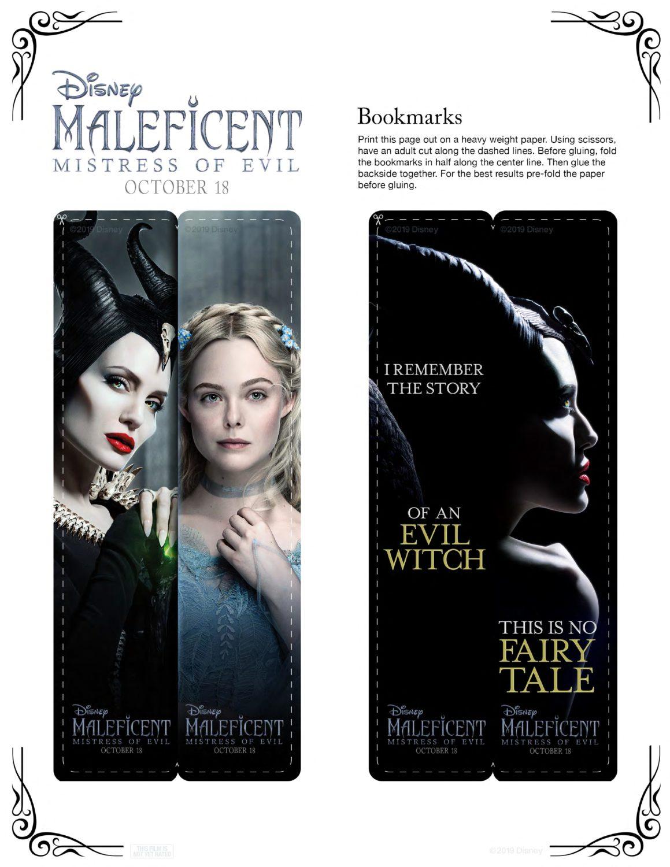 Maleficent 2 Bookmarks Activity Sheet