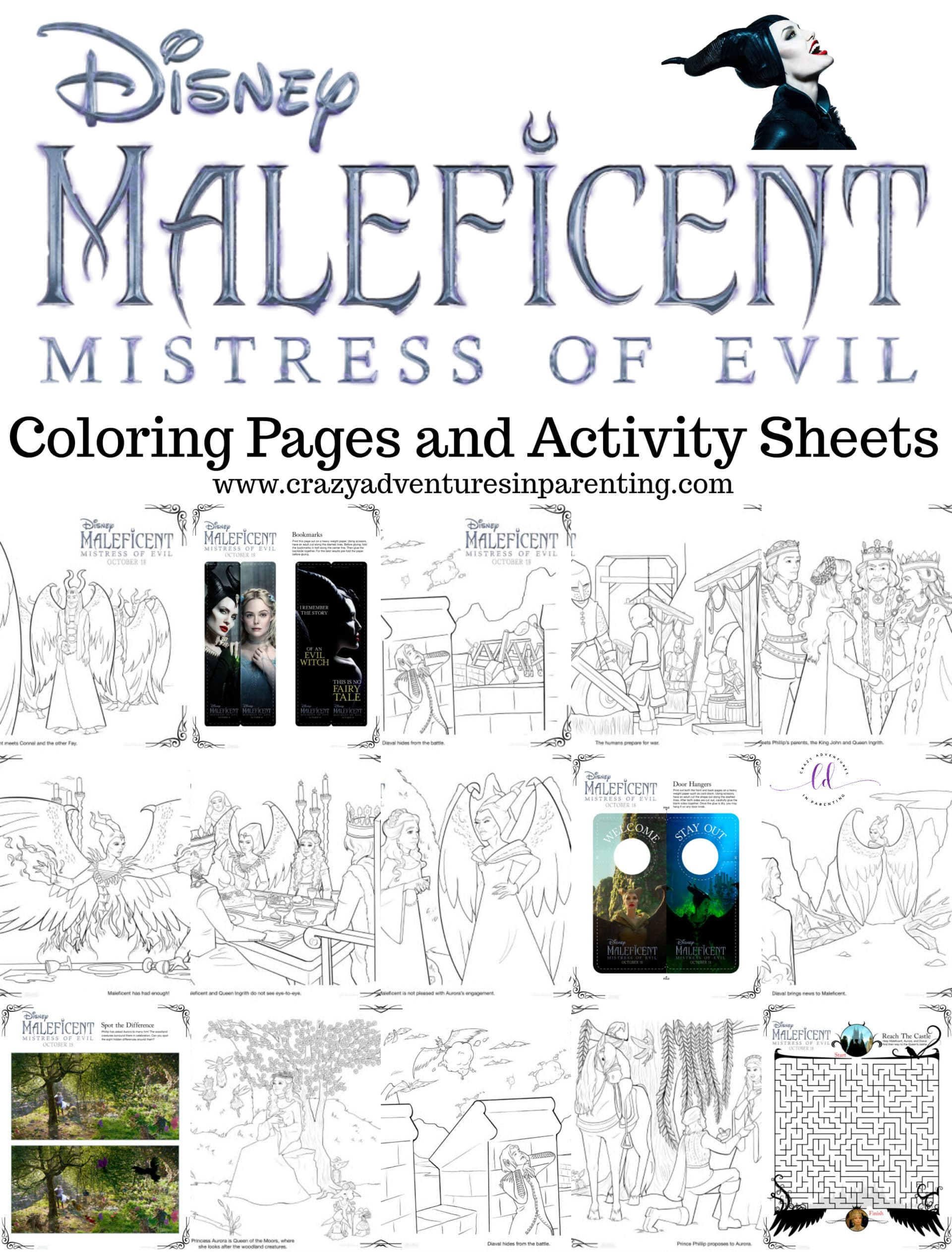 Maleficent Mistress of Evil Coloring Pages and Activity Sheets