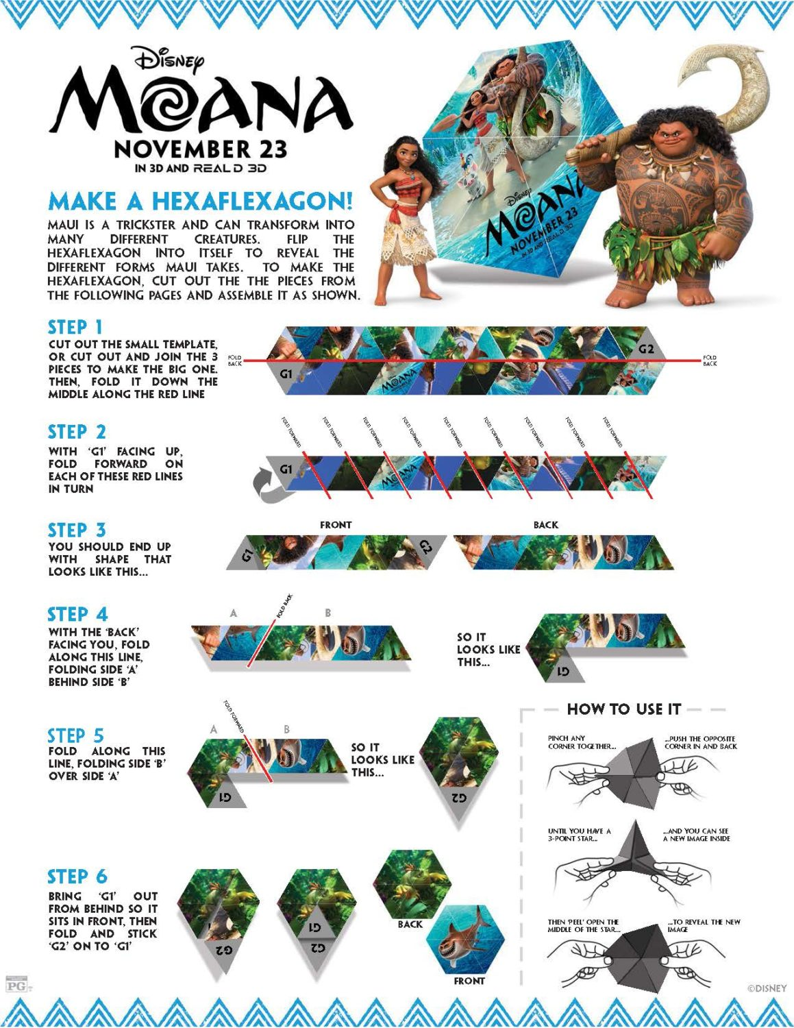 Moana Hexaflexagon Activity Sheet