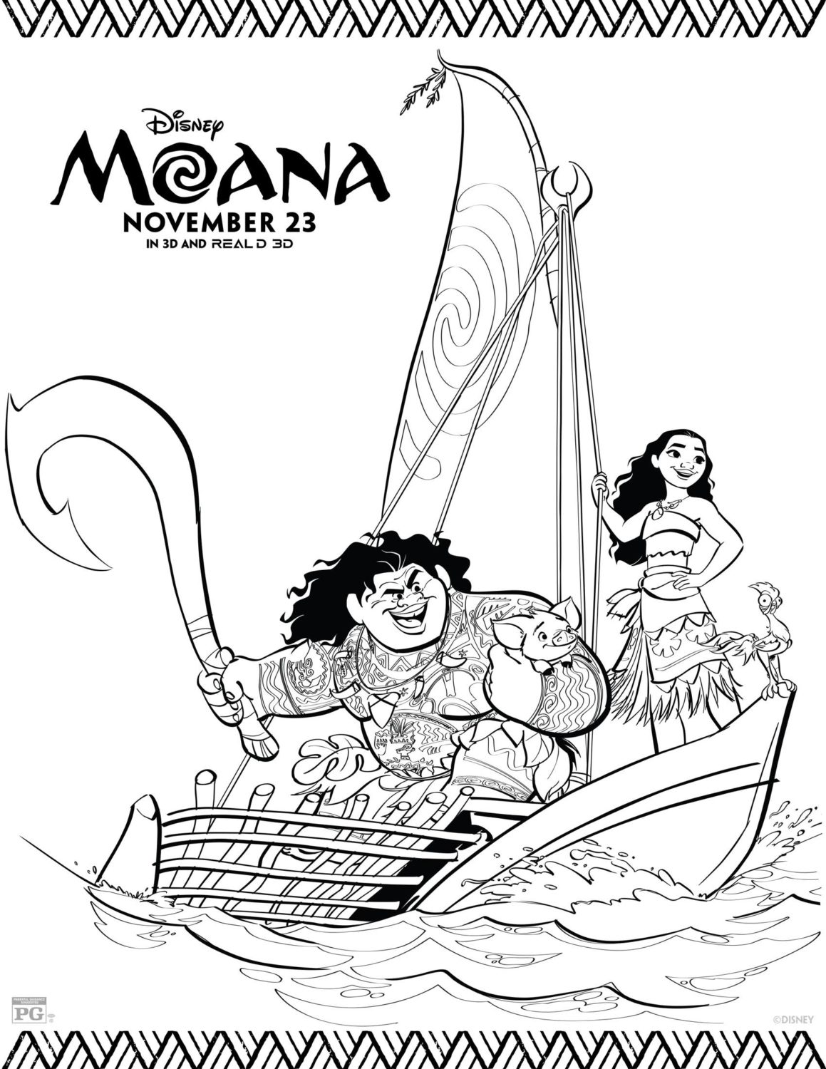 Moana and Friends Coloring Page