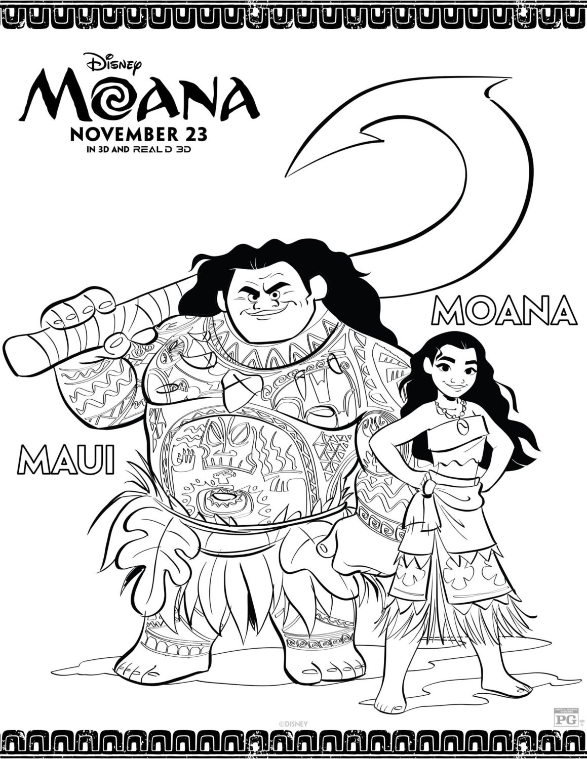 Moana and Maui Coloring Pages and Activity Sheets