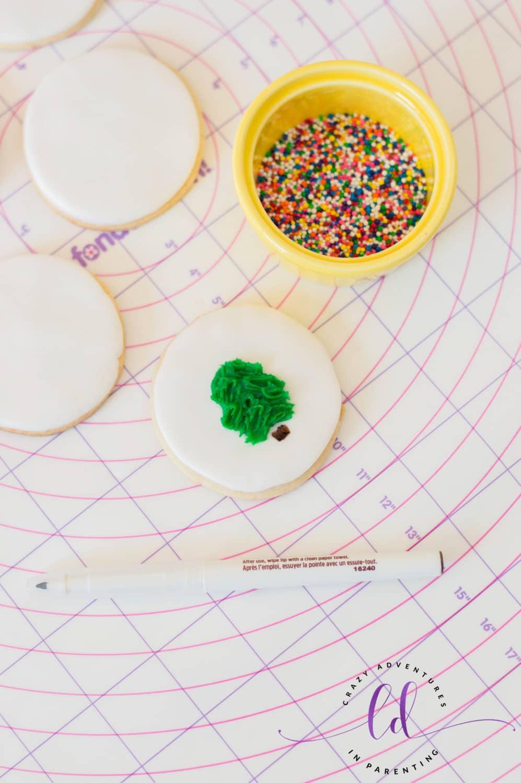 Draw Tree Stem for Christmas Tree Cookies