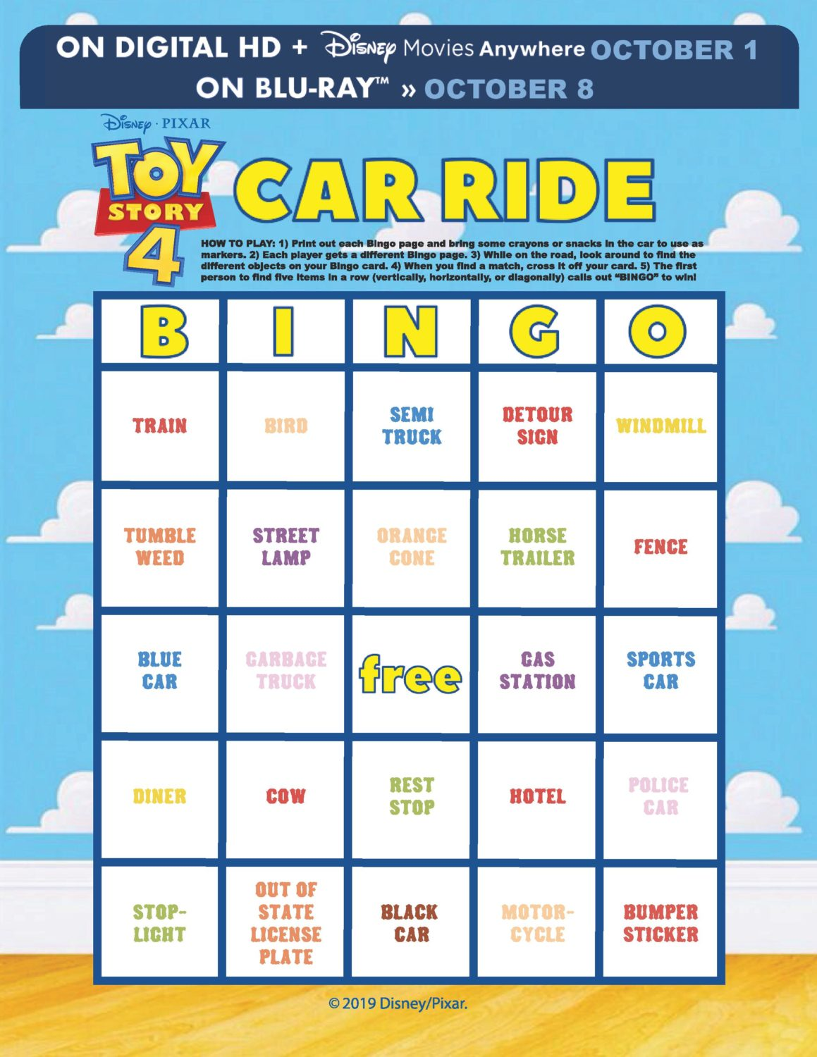 Toy Story 4 Car Ride Bingo Card Printable