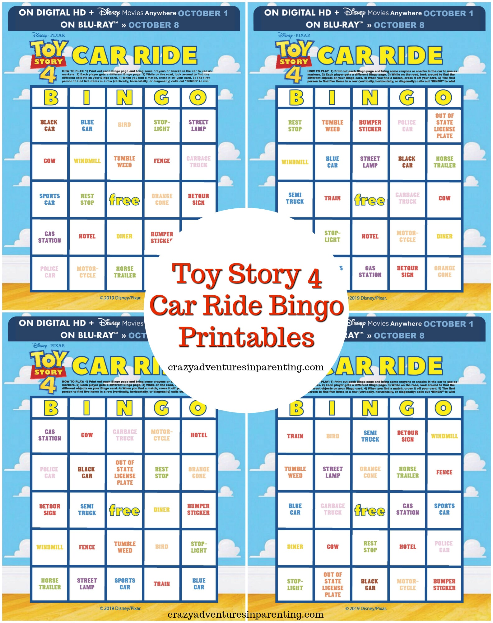Toy Story 4 Car Ride Bingo Printables for Kids