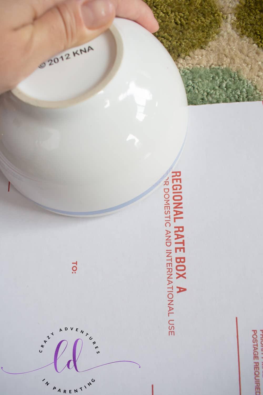 Trace Bowl Outline for Hand Indentation
