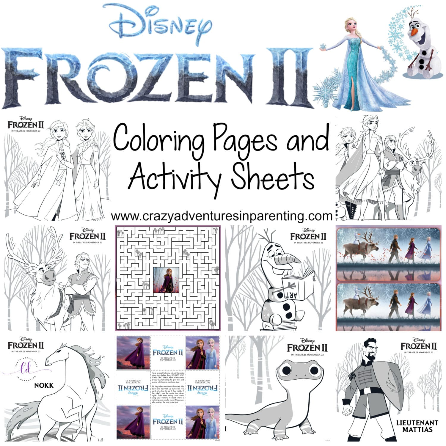 Disney Frozen 2 Coloring Pages and Activity Sheets