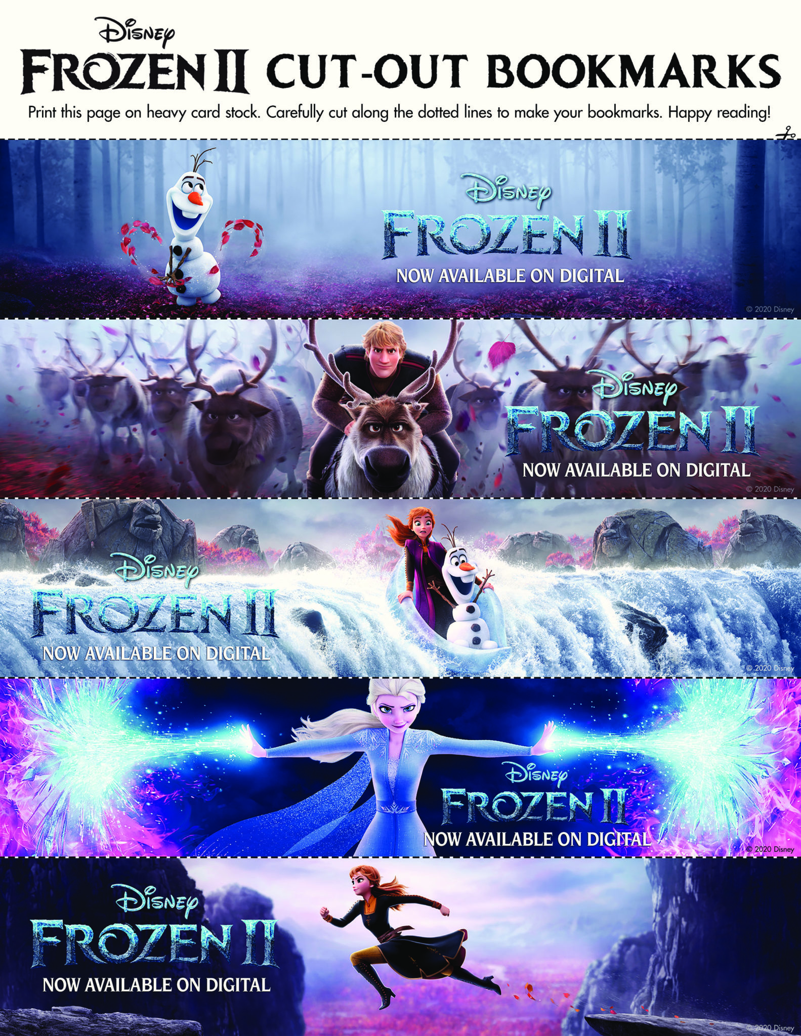 Frozen 2 Bookmarks to print
