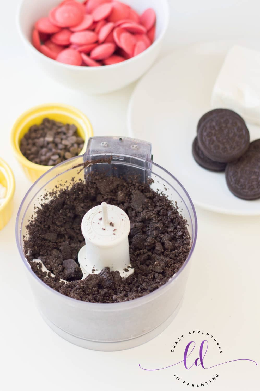 Crush Oreos in Food Processor to Make Ladybug Lovebug Oreo Truffles