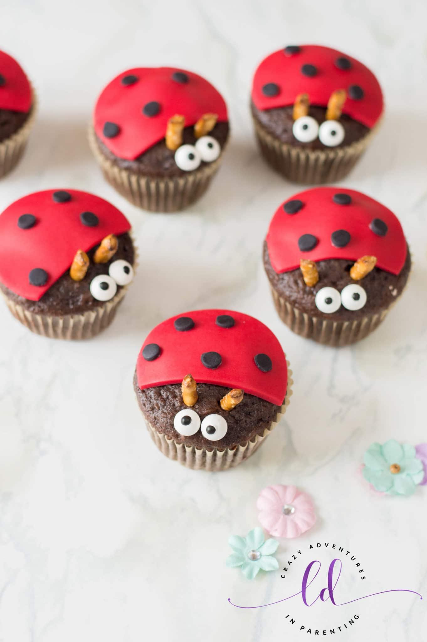 Ladybug Lovebug Cupcakes for Valentine's Day