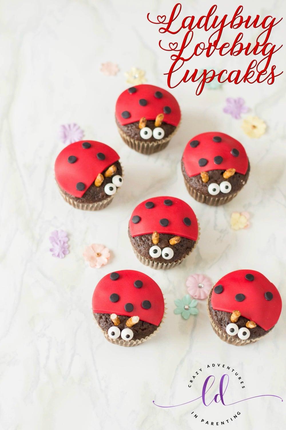 Ladybug Lovebug Cupcakes for Valentines