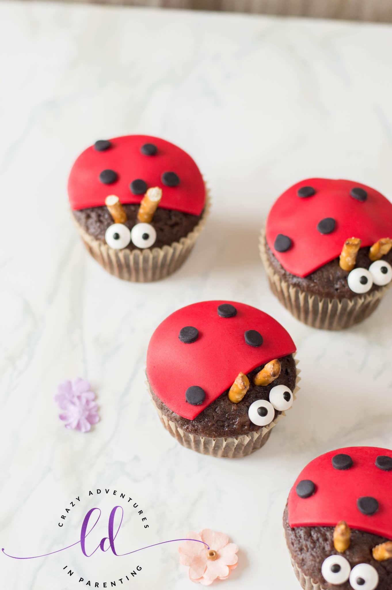 Simple Ladybug Lovebug Cupcakes