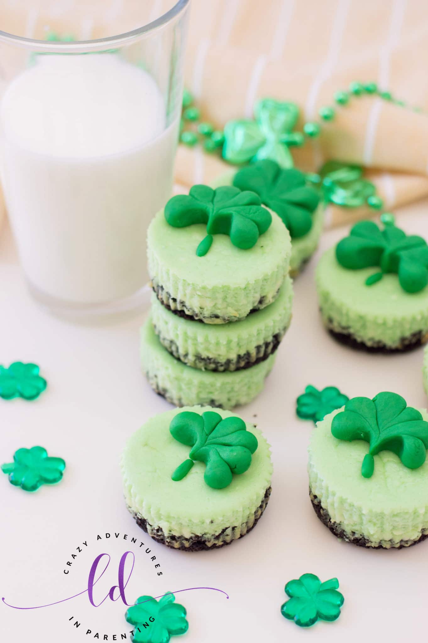 Simple St. Patrick's Day Mini Cheesecakes