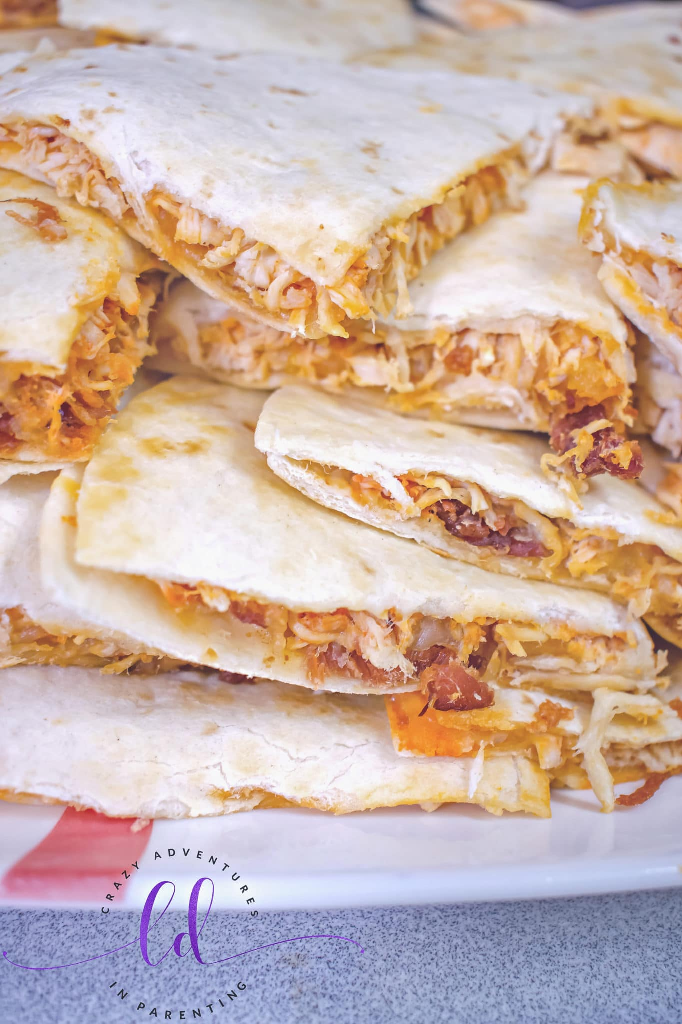Buffalo Chicken Bacon Ranch Quesadillas Close-Up