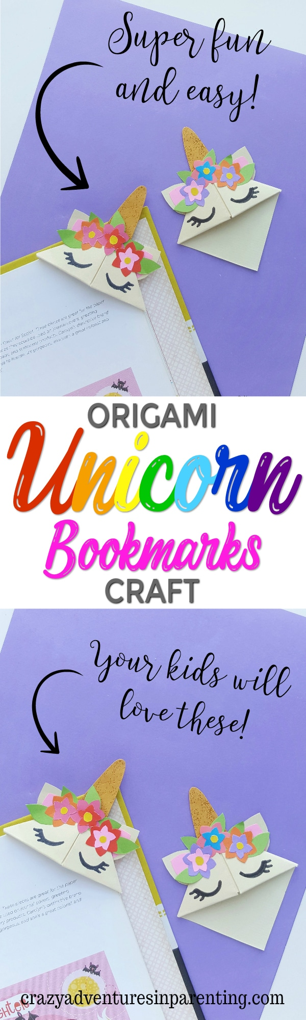 Easy Origami Unicorn Corner Bookmark Craft