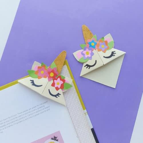 Easy Origami Unicorn Corner Bookmark