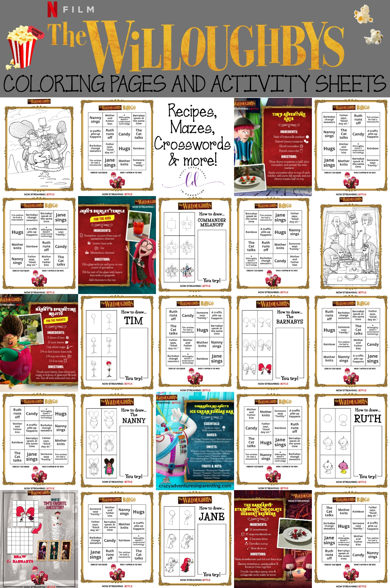 Free Printable The Willoughbys Coloring Pages and Activity Sheets