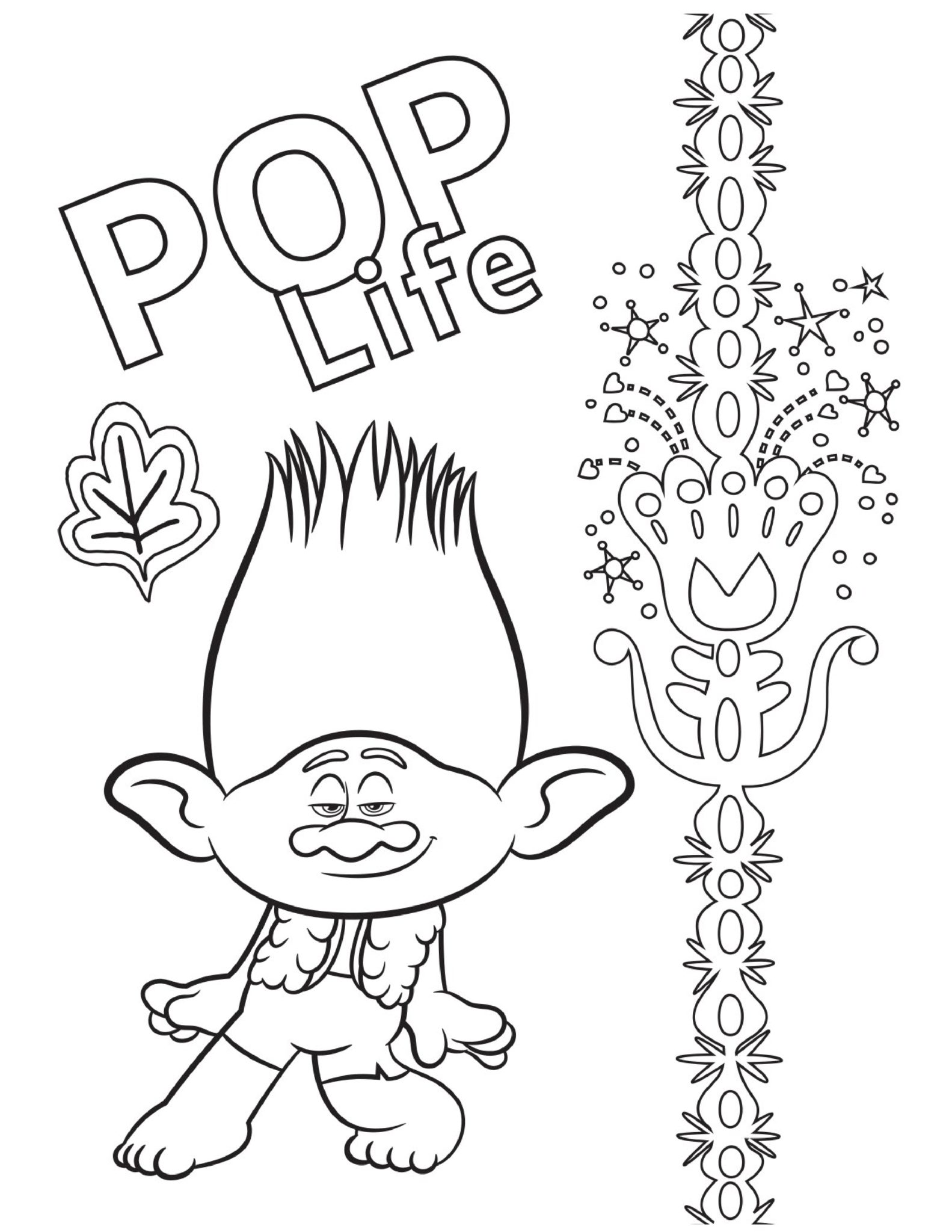 Pop Life Trolls Coloring Page