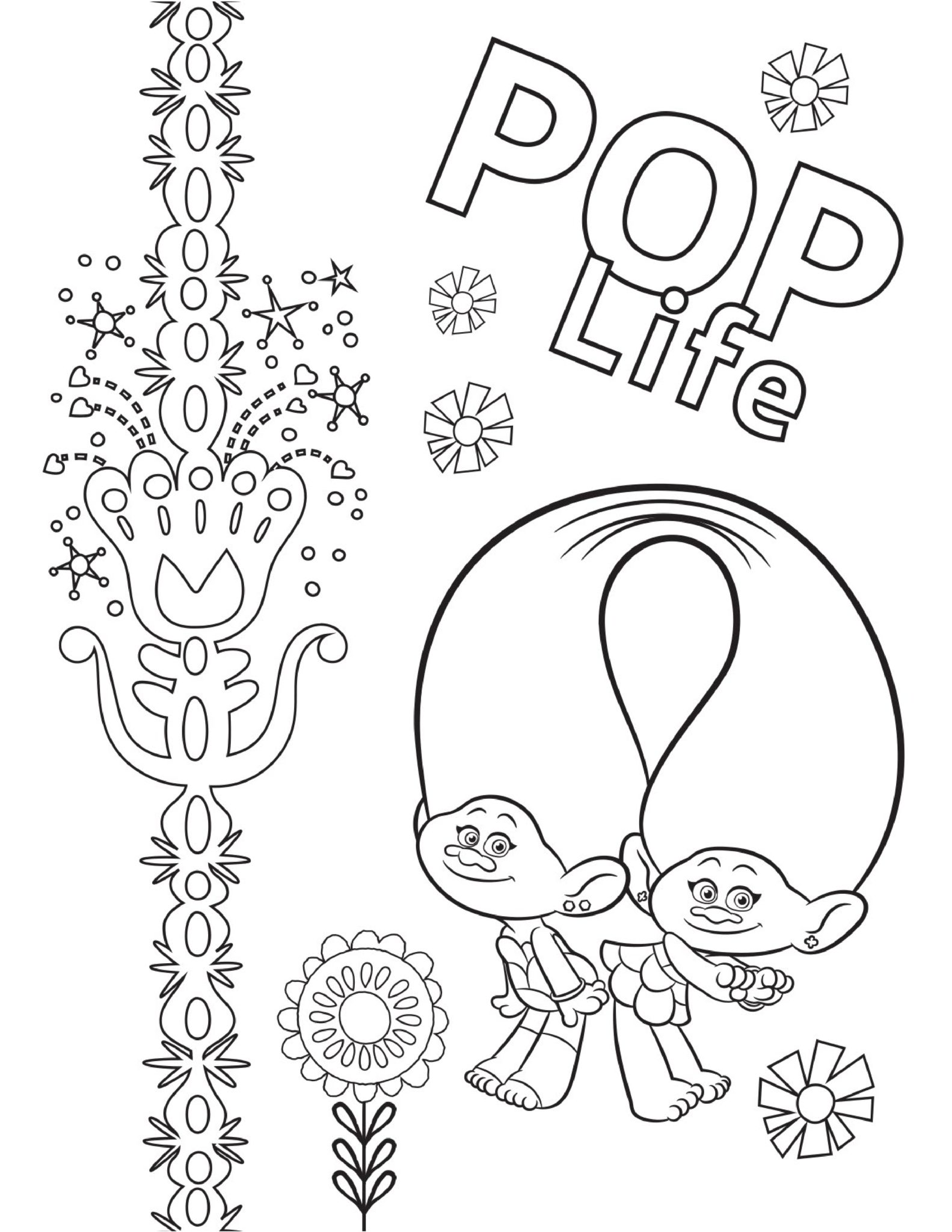 Pop Life Trolls World Tour Coloring Page