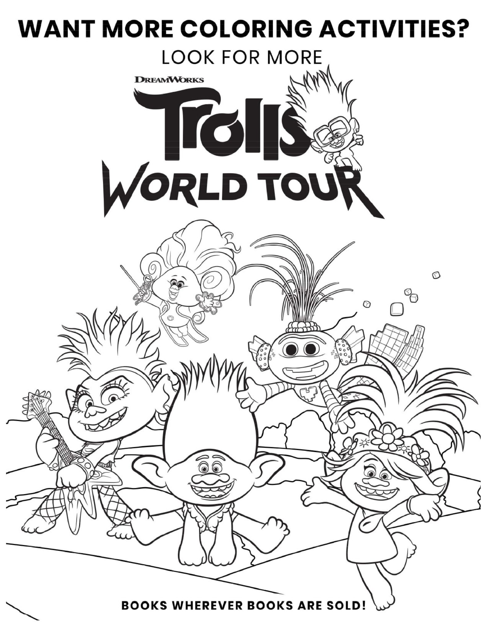 Trolls World Tour Coloring Page Activities