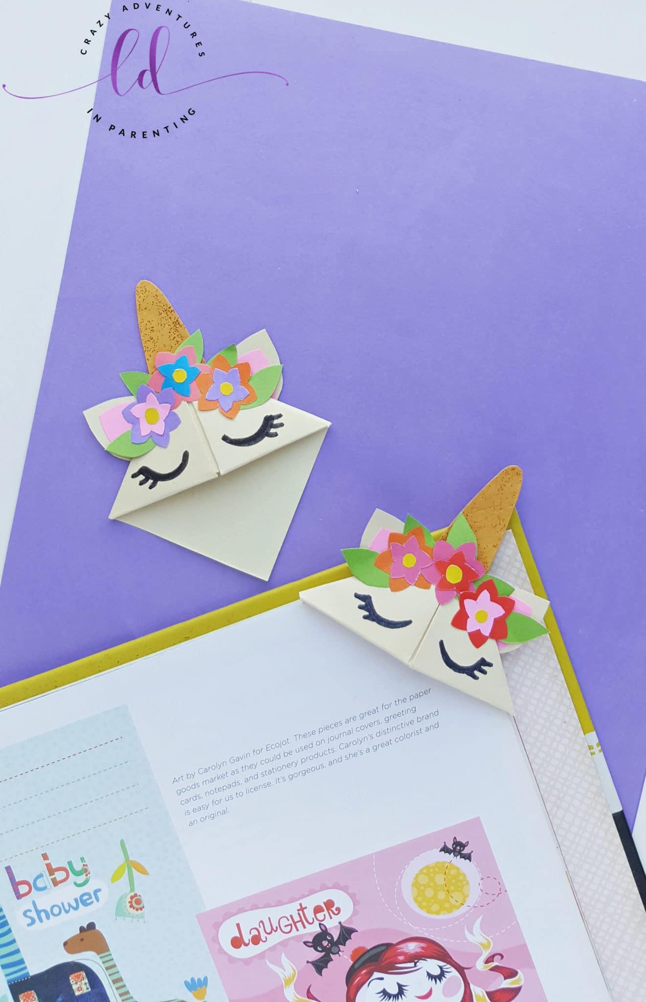 Origami Unicorn Corner Bookmark