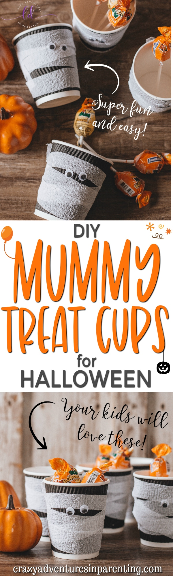 DIY Mummy Treat Cups for Halloween