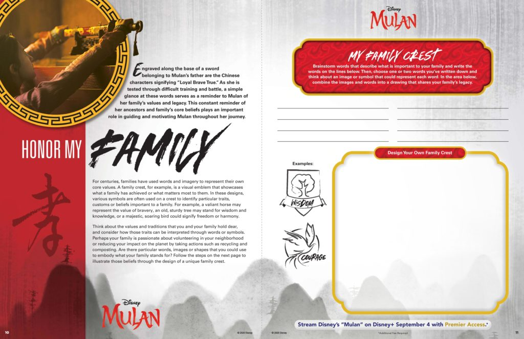 MULAN Family Crest Activity Sheet