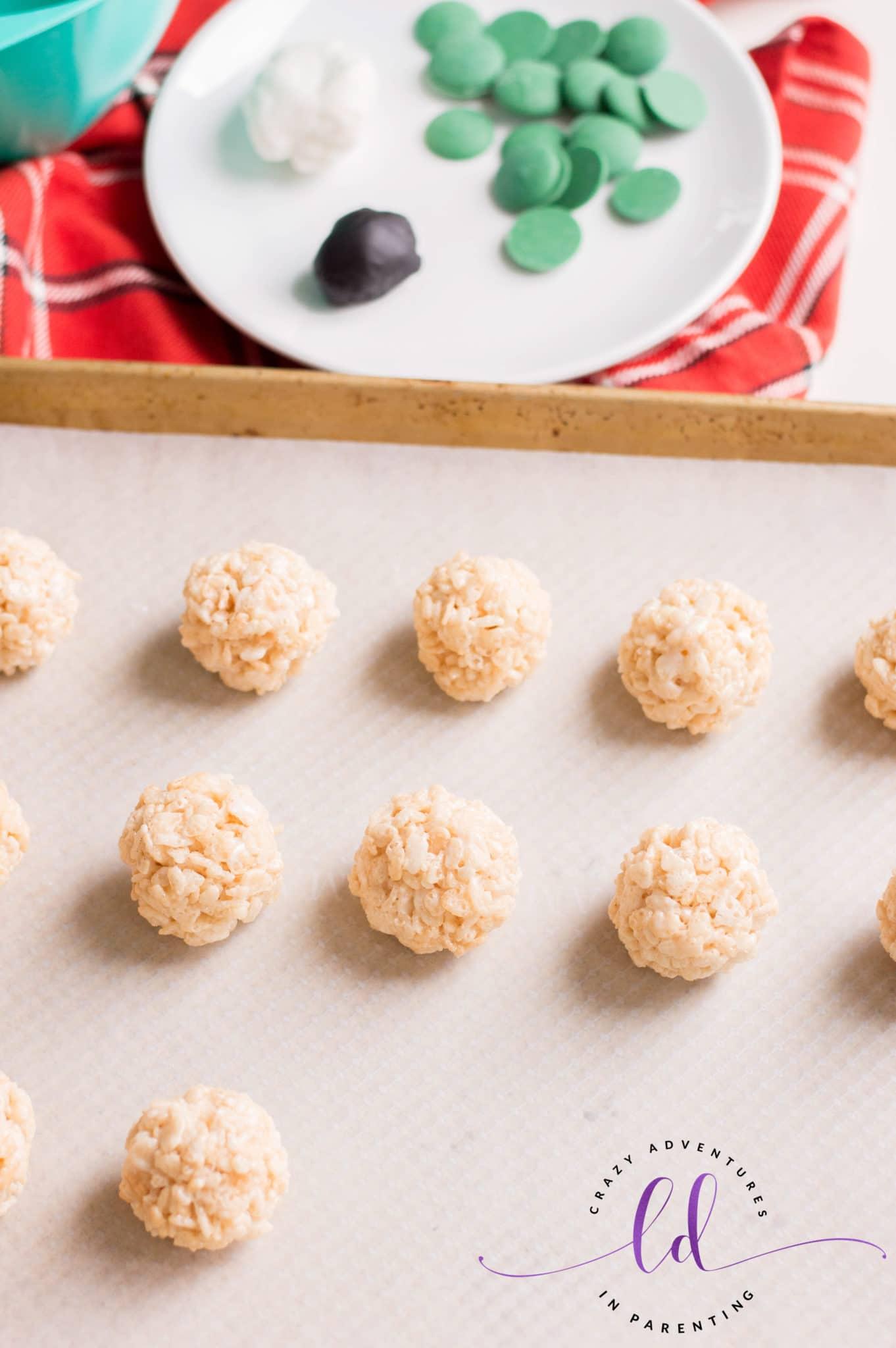 Roll into Balls to Make Halloween Eyeballs Rice Krispies Treats