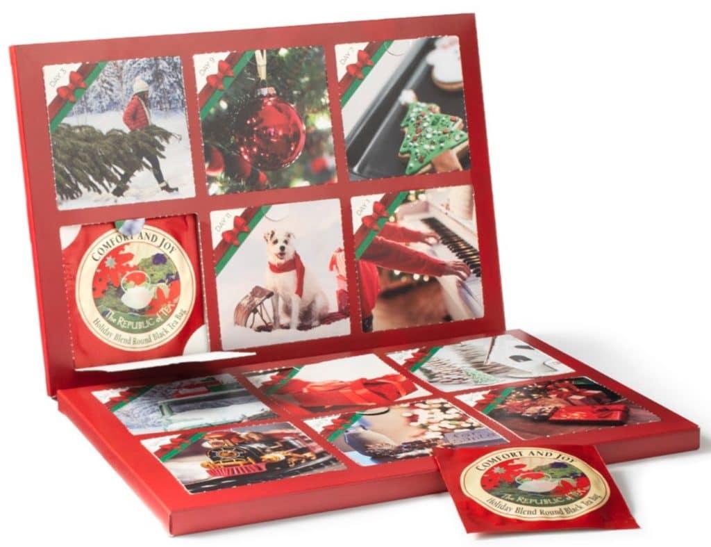 The Republic of Tea Countdown to Christmas themed tea tin open