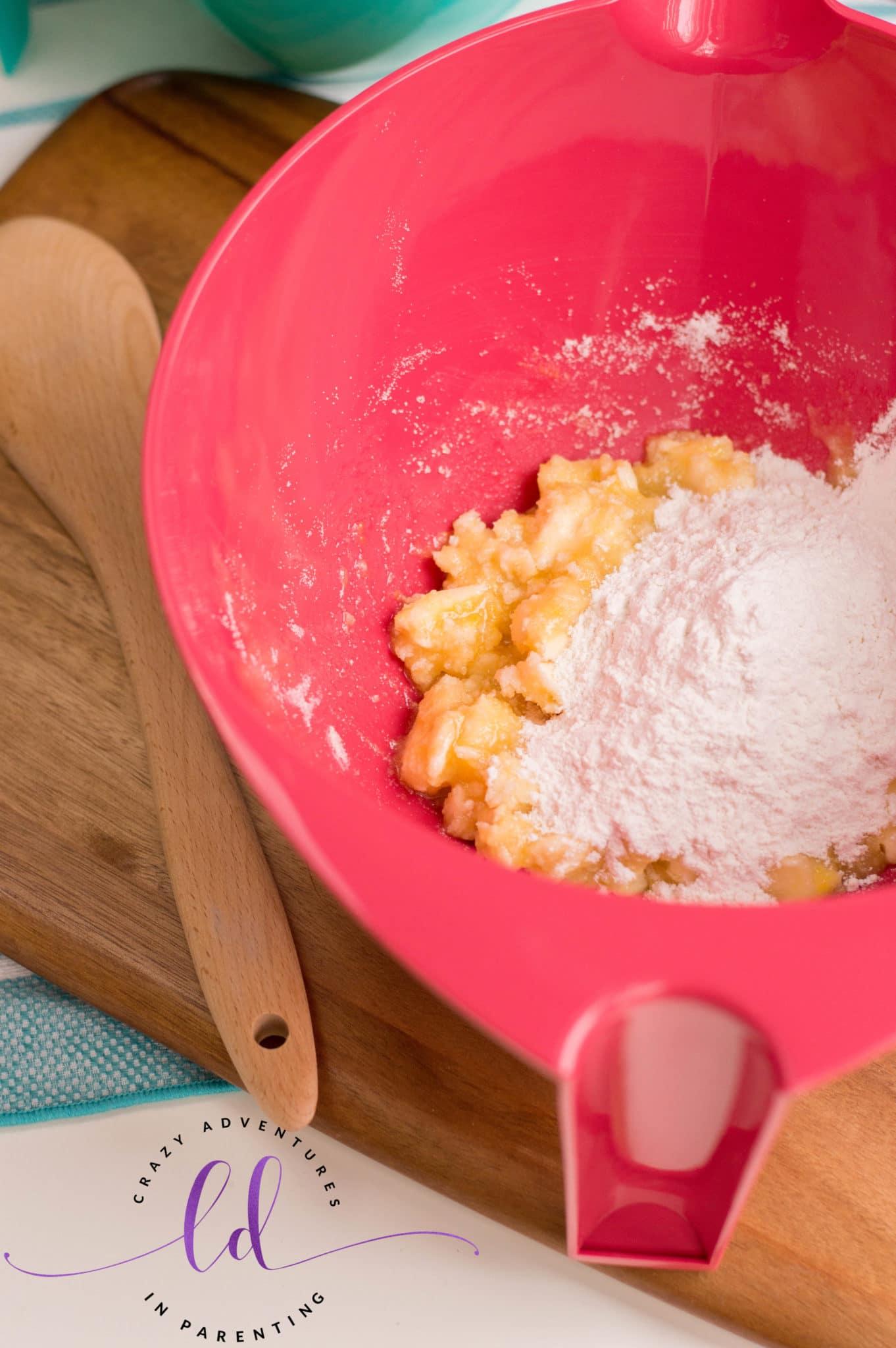Add dry ingredients to make Patriotic Sugar Cookies
