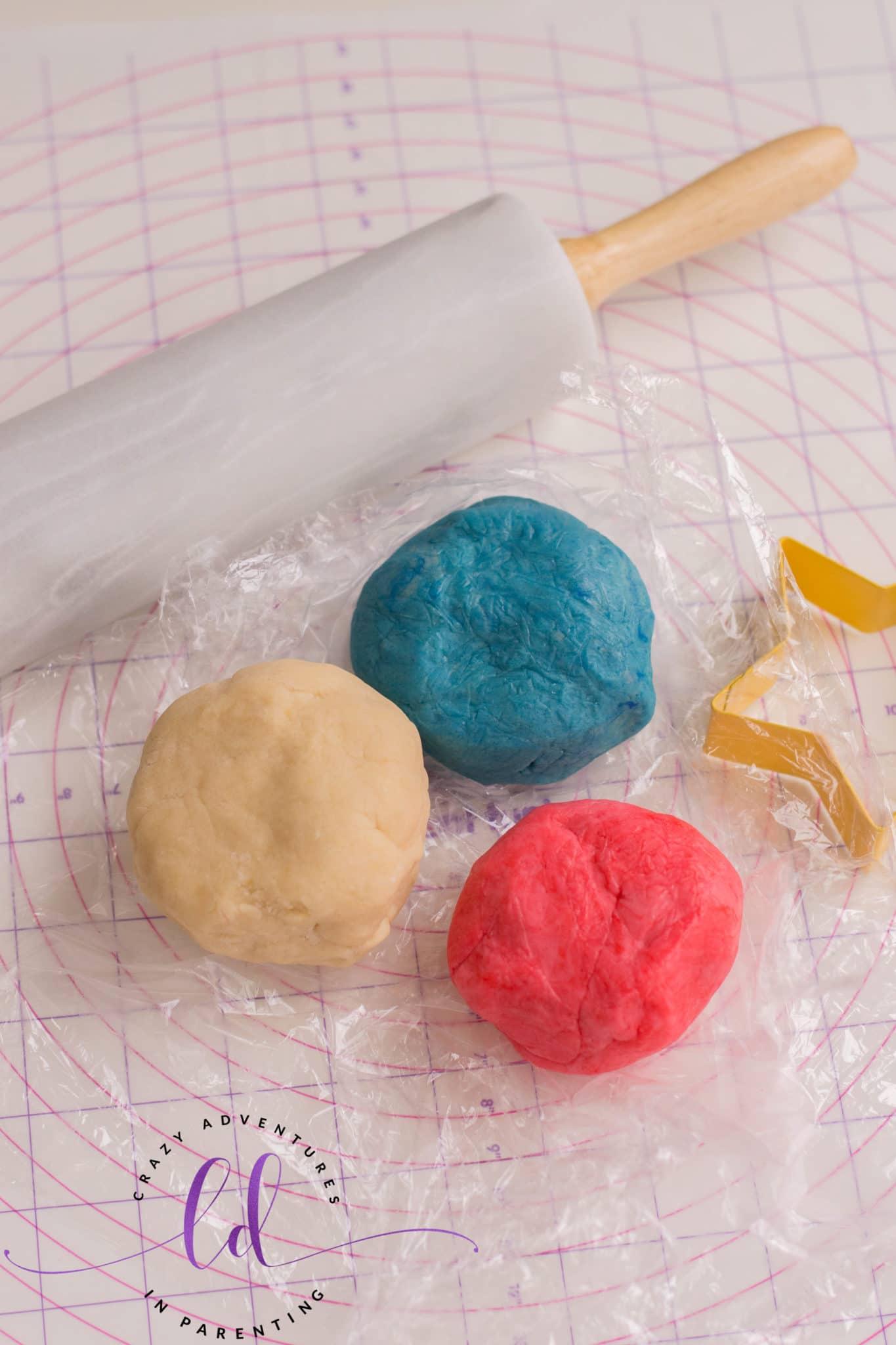 Knead gel coloring into dough to make Patriotic Sugar Cookies