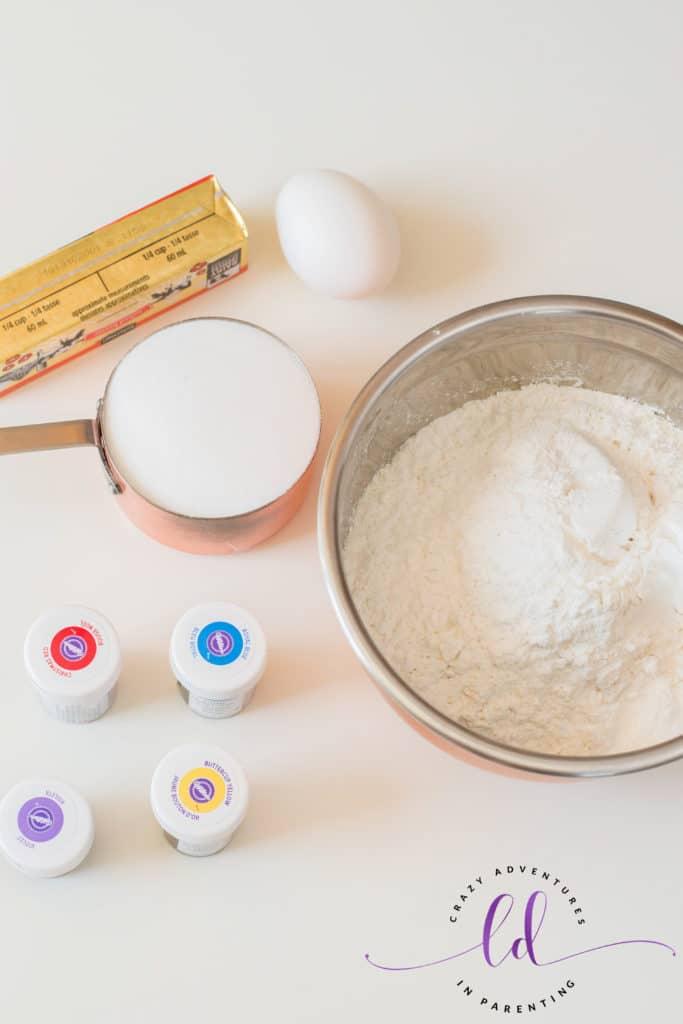 Ingredients to Make Rainbow Unicorn Cookies